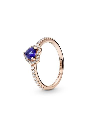 Pandora silver Pandora Sparkling Blue Elevated Heart Ring 62EFBAC9BCD3FDGS_1