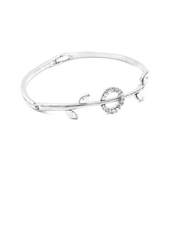 Glamorousky silver Elegant Bangle with Silver Austrian Element Crystals and CZ Beads 55232AC31AF0F1GS_1