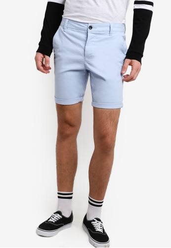 Topman blue Light Blue Stretch Skinny Chino Shorts TO413AA91BPWMY_1