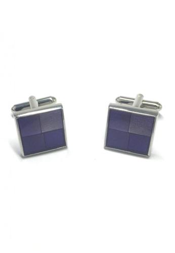 Splice Cufflinks purple Purple Patterned Square Cufflinks   SP744AC53DLYSG_1
