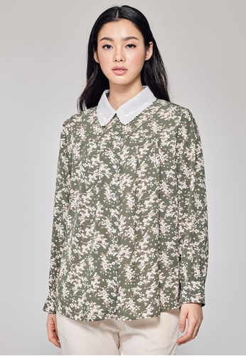 MC Vogue green Green Lily Printed Blouse B20F4AA1F929F2GS_1