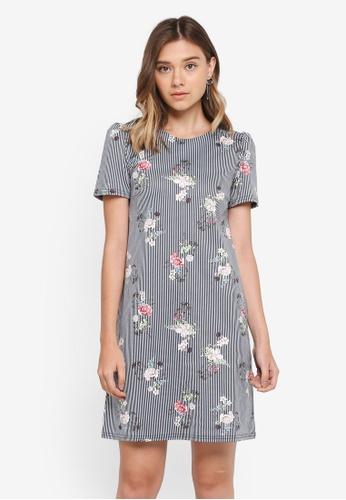 Dorothy Perkins navy Navy & Ivy Floral Shift Dress 3BC24AA7CA6013GS_1