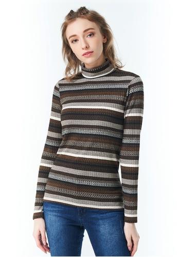 Sisley brown Striped Turtleneck FB0D6AA3ACDB31GS_1