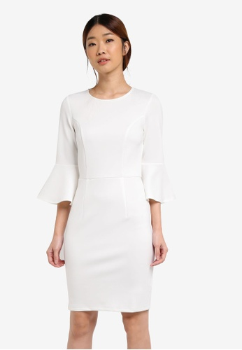 Dorothy Perkins white Petite Flute Sleeve Dress DO816AA0T05FMY_1
