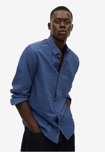 MANGO Man blue Slim Fit Gingham Check Shirt 49500AAFCE80B5GS_1