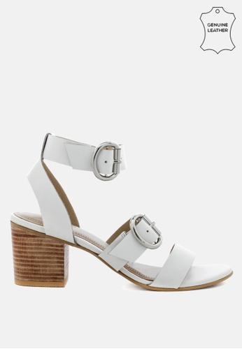 RAG & CO 白色 粗跟皮凉鞋 32905SH3D75BC8GS_1