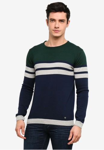 !Solid blue and navy Stellan Striped Knit Sweater 1736AAAB166B45GS_1