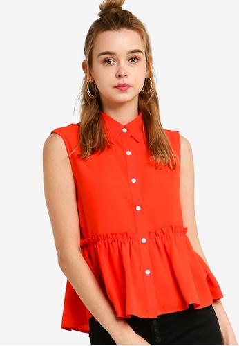 Something Borrowed 橘色 無袖娃娃上衣 4B37EAA2A1A1BFGS_1