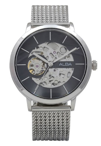 Alba silver ALBA Jam Tangan Pria - Silver Black - Stainless Steel - A8A001 Automatic 832F1AC40AFD41GS_1