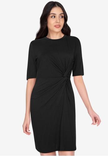 Origin by Zalora black Drape Detail Dress made from TENCEL™ A00B4AA264A9C4GS_1