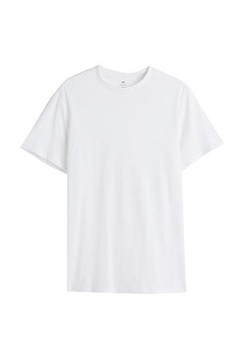 H&M white Round-Neck T-Shirt Regular Fit 681A7AAE8DAA5CGS_1