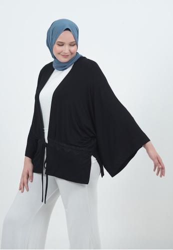 Bait Al Hijaab black Kimono Cardigan D0E74AACEA99D8GS_1