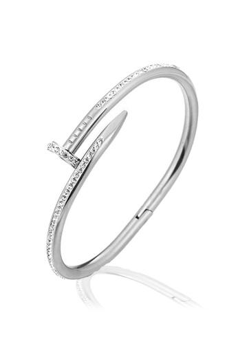 CELOVIS silver CELOVIS - Roxanne Nail Cuff Zirconia Clasp Bangle (Silver) E555CACC415E8BGS_1
