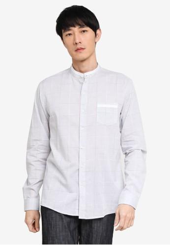Fidelio grey Mandarin Collar Checkered Long Sleeve Shirt 8A538AAA2AA884GS_1