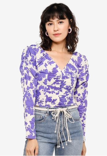 Urban Revivo purple Printed Ruched Cropped Top 74A47AAE6745C7GS_1