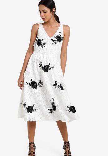 TOPSHOP white Mono Embroidered Midi Prom Dress TO412AA59NIAMY_1
