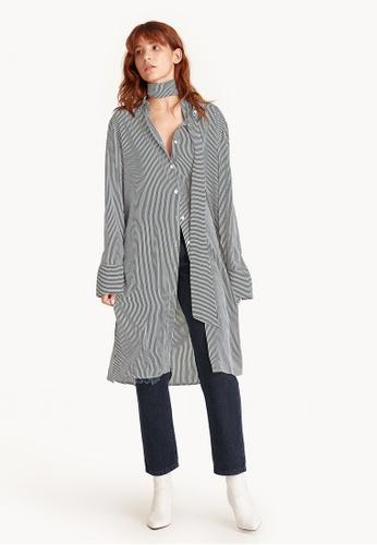 Pomelo black Shamon Midi Striped Shirt Dress 0CEB0AAA783FE1GS_1