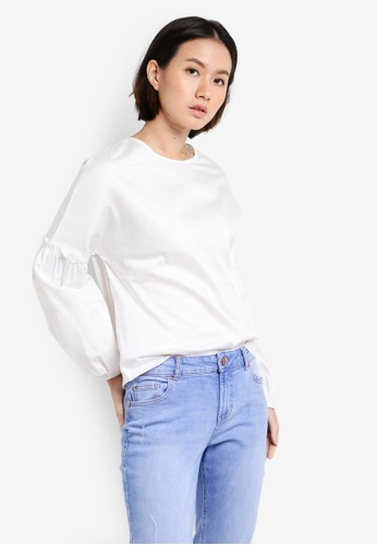 Dorothy Perkins white White Cotton Puff Sleeve Top DO816AA69UTUMY_1