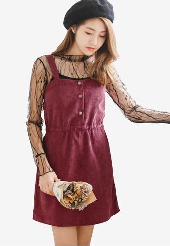 Sesura red Lovely Corduroy Jumper Dress 45A18AAC4CDE33GS_1