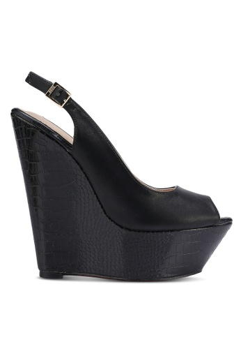 Nose black Peep Toe Wedge Sandals NO327SH0RC6VMY_1