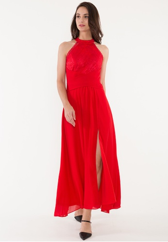 BEBEBEIGE red BebeBeige A-Line High Neck Chiffon Floor-Length Evening Dinner Dress With Walking-Slit 9C706AAB65223AGS_1