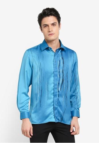 Gene Martino blue Batik Shirt D654DAA310AE56GS_1