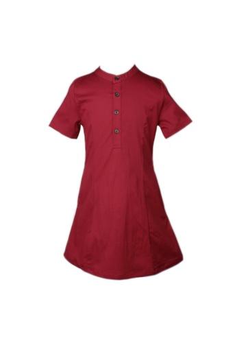 Mini Moley red Brushed Cotton Half-Button Down Dress CDE9DKABB8BD81GS_1