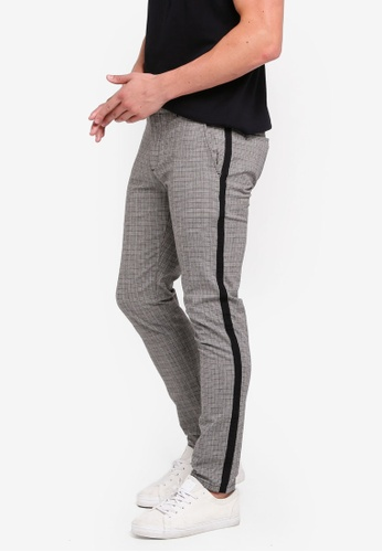 River Island 灰色 Grey Check Skinny Tape Chino Pants A4F1AAAD8C4BE9GS_1