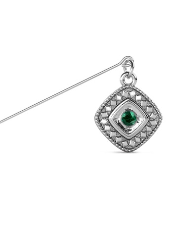 Her Jewellery green and silver Kamya Brooch (May) - Made with premium grade crystals from Austria 15D67AC7B17A2FGS_1
