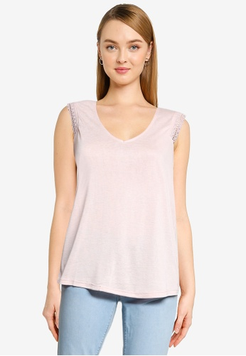 Springfield pink Lace Shoulders Top 68A4FAABB18E5EGS_1