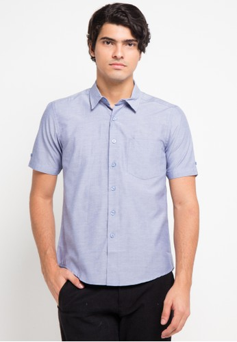 BRITANIA blue Short Sleeve Fil Coupe Slim Shirt BR202AA0V8YWID_1