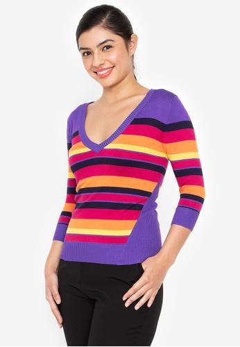 Wear Kris purple Kinetic V Neck Elbow Sleeves Sweater Knit Top E4A6CAA3707E65GS_1