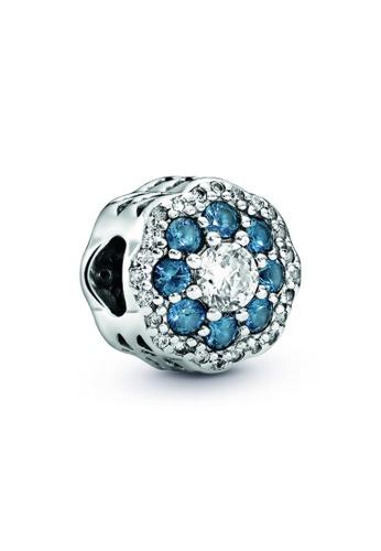 PANDORA silver Pandora Blue Sparkle Flower Charm DD97BAC5BAB566GS_1