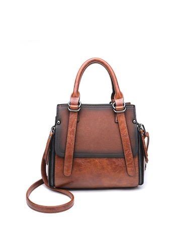 Lara brown Women's Vintage Flap Front Portable Crossbody Bag D32F4ACD184D34GS_1