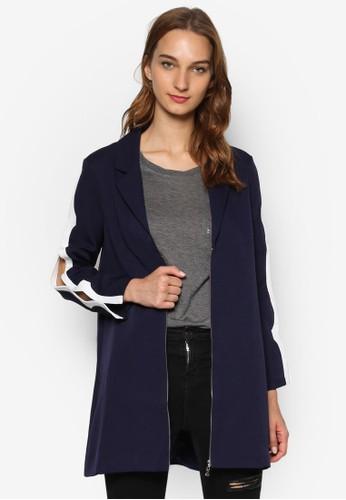 撞色滾邊鏤空長袖拉鍊外套, 服飾esprit 見工, 女性服飾