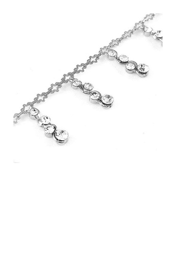 Glamorousky silver Simple Anklet with Silver Austrian Element Crystals CF4ADAC06F1E53GS_1