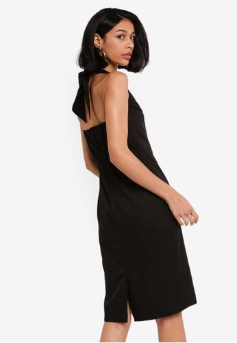 ZALORA BASICS black Halter Neck Work Sheath Dress 3235AAA6C78ACCGS_1