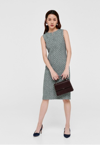 Love, Bonito green Katlyn Tweed Notch Neck Midi Dress B2617AAAD28D75GS_1