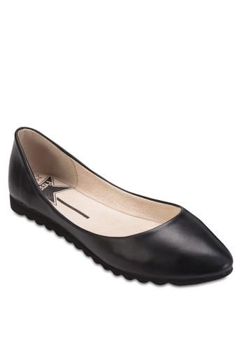 暗紋尖頭esprit mongkok平底鞋, 女鞋, 鞋
