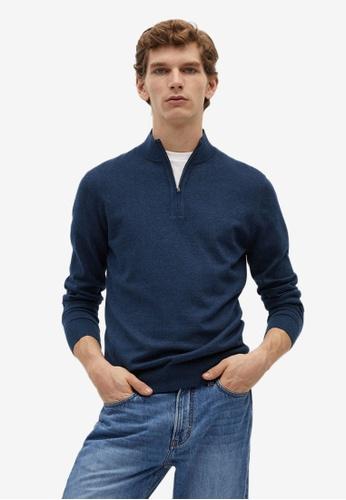 MANGO Man blue Zipper Cashmere Cotton Sweater CBE8FAA96AE039GS_1