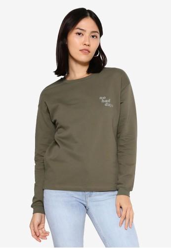 ONLY green Diana Long Sleeve O-Neck Sweatshirt 7F426AADF283F5GS_1