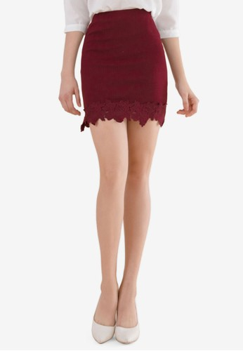 Eyescream red Lace Hem Mini Skirt EDE64AA55B8395GS_1