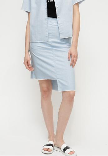 OUTSTANDING ORDINARY blue Sherbet Skirt OU203AA81CACSG_1