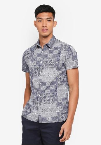 OVS blue Printed Pattern Shirt 785F3AA4A342DDGS_1