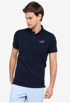 81e82cfe29458 Hollister navy Exploded Icon Polo Shirt 27875AA0A3EFE5GS_1