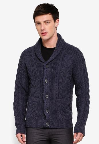 05ae22851 MANGO Man blue and navy Knitted Braided Cardigan F438BAA5887832GS_1