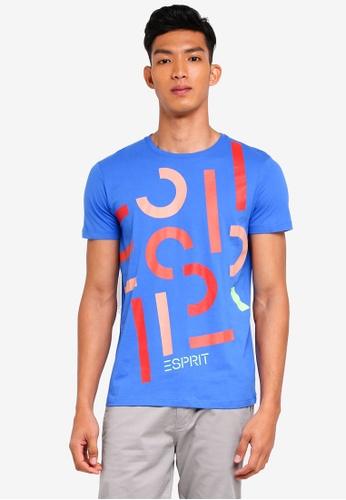 ESPRIT blue Brand Print Short Sleeve T-Shirt C4630AADFA86DAGS_1