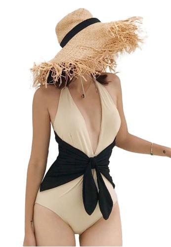 Sunnydaysweety beige Sexy Deep V High Waist Stitching One-Piece Swimsuit A21071412BE C6C98US5BE2ED5GS_1