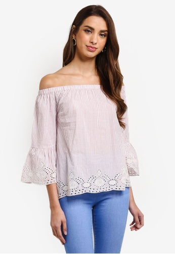 Dorothy Perkins pink Blush Striped Broderie Bardot Top EC64AAA4F8668DGS_1