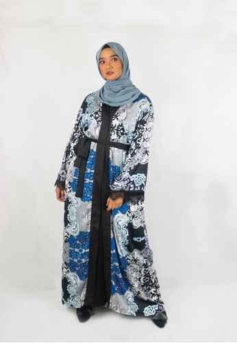 Zaryluq black and grey and blue Baroque Abaya with Lace in Blue Orchid C7614AAFC1D64CGS_1